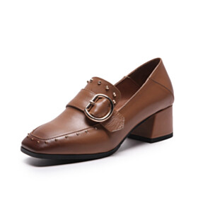 Studded Loafers Low Heels Business Casual Vintage Chunky Heel Brown Square Toe Leather