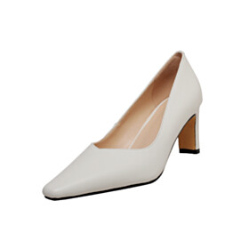 Pointed Toe Fashion Pumps Mid High Heeled Dress Shoes Leather Elegant White