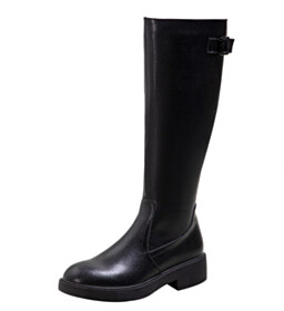Winter Classic Patent Knee High Boot Going Out Shoes Vintage Closed Toe Flat Shoes