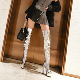 Fur Lined Patent Tall Boot Block Heel Thick Heel Faux Leather Silver Over The Knee Boots Platform 5 inch High Heel Metallic