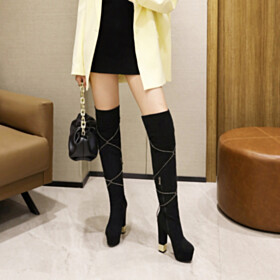 Black Round Toe Block Heel Platform Thick Heel Tall Boot High Heel Winter Faux Leather Fur Lined Over Knee Boots Closed Toe