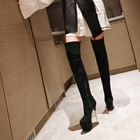 Platform Black Over Knee Boots Super High Heels Classic Stiletto