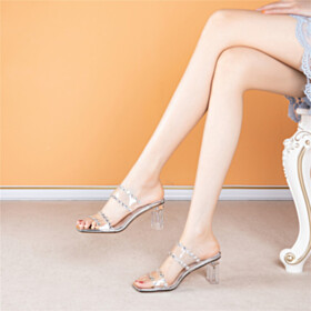 Cute Fashion Mules Peep Toe Sandals PU Mid Heel Chunky Heel Block Heels Going Out Shoes Rhinestones Evening Party Shoes