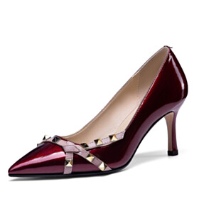 Elegant Pointed Toe Burgundy Studded Office Shoes Stiletto Heels Formal Dress Shoes Pumps High Heel Classic