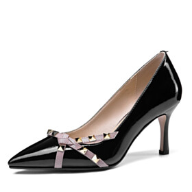 Studded Beautiful Classic Pumps High Heels Pointed Toe Black Stiletto Heels Office Shoes