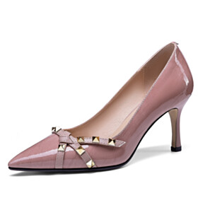 Stilettos Pointed Toe High Heels Office Shoes Pumps Classic Studded Elegant