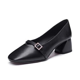 Classic Black Natural Leather Chunky Hee Block Heels Grained Rhinestones Womens Footwear Low Heel Round Toe