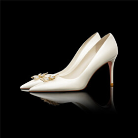 Formal Dress Shoes Bridal Shoes White Pointed Toe Stiletto High Heel Flowers Elegant Party Shoes Pumps Slip On