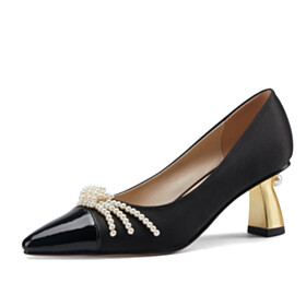 Elegant Dress Shoes Pearl Fashion Womens Footwear Black Pumps With Color Block 6 cm Mid Heel