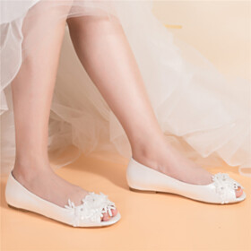 Ballerina Shoes Bridal Shoes Satin Beautiful Peep Toe Flats Slip On Ivory