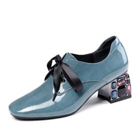 Womens Shoes Slate Blue Lacing Up Chunky Heel Shooties Leather 5 cm Low Heel Block Heel Crystal