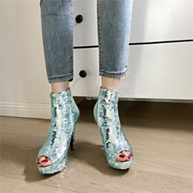 11 cm High Heel Going Out Footwear Platform Glitter Stylish Evening Party Shoes Silver Stiletto Gradient Ankle Boots Sparkly
