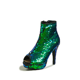 Gradient Going Out Shoes Green Stylish Sparkly 11 cm High Heeled Ankle Boots Platform Open Toe