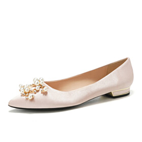 Champagne Elegant Satin Cute With Pearls Flats Pointed Toe Ballet Shoes Womens Footwear