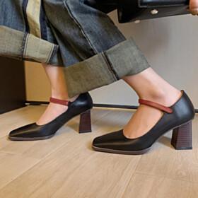 7 cm Heeled Pumps Black Leather Block Heel Closed Toe Chunky Classic