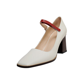 Beautiful Ankle Strap White Leather Closed Toe Pumps 7 cm Heel Block Heels Business Casual Shoes