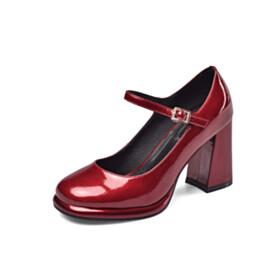 Pumps Mary Janes 3 inch High Heel Burgundy Block Heels