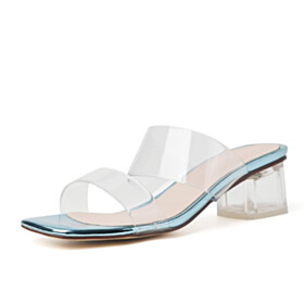 Block Heel Square Toe Chunky Light Blue Open Toe 2 inch Low Heel Modern Womens Sandals Slipper