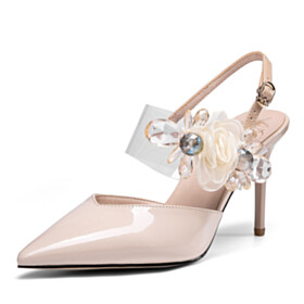 Elegant Business Casual Sandals For Women With Flower Summer 9 cm High Heels Evening Party Shoes Nude Designer