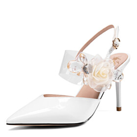 Dress Shoes Stylish With Flower 2021 Pointed Toe White Designer Beautiful Sandals Chunky Hee High Heel