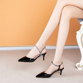 Beautiful 6 cm Heeled Party Shoes Classic Leather Rhinestones With Ankle Strap Sandals