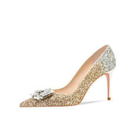 Pumps Gold Stiletto Heels Gradient 3 inch High Heel Dressy Shoes Bridals Wedding Shoes Sequin Beautiful Evening Party Shoes Pointed Toe