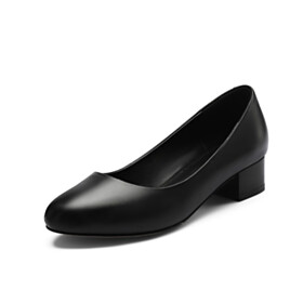 Closed Toe Block Heels Pumps Low Heeled Black Classic Chunky Round Toe Leather