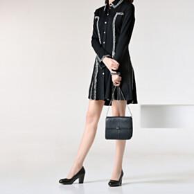 Slip On Chunky Classic Leather Block Heels Pumps Black Round Toe 7 cm Heeled