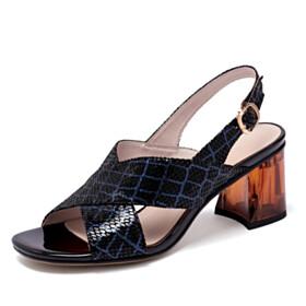 Slingbacks Elegant Going Out Footwear Strappy Mid Heels Block Heels Black Open Toe Womens Sandals