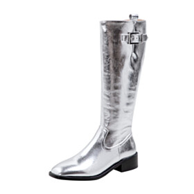 Modern Square Toe Silver Riding Boot Faux Leather Boot Flats