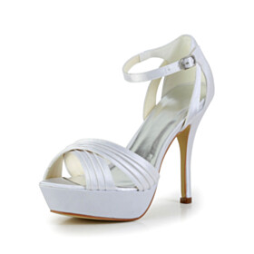 Ankle Strap Wedding Shoes For Bridal Platform Sandals White 4 inch High Heeled Strappy Peep Toe