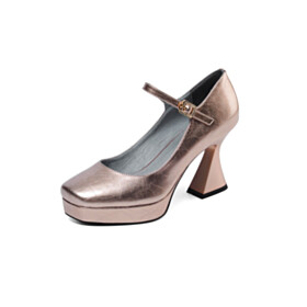 Pumps Sculpted Heel Fashion Ankle Strap Closed Toe Champagne 3 inch High Heel Mary Jane