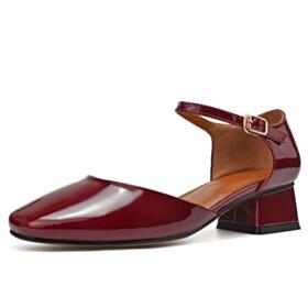 Ankle Strap Burgundy Leather Vintage Low Heel Block Heel Sandals