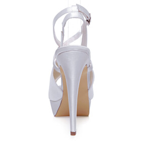 White Peep Toe High Heel Platform Strappy Elegant Bridals Wedding Shoes Dress Shoes