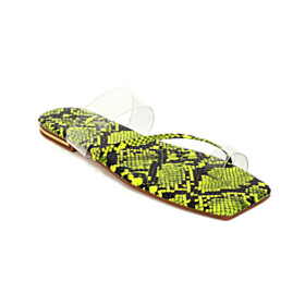 Peep Toe Snake Print Beach Footear Flats Womens Sandals Fashion Yellow Transparent