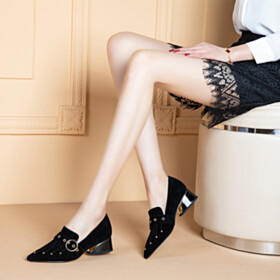 Classic Loafers Suede Studded Shoes Leather Business Casual Low Heels Chunky Hee Comfortable Black