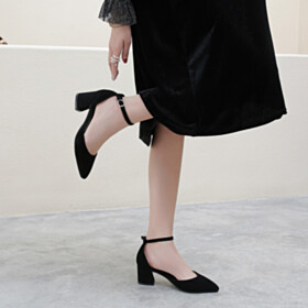 Leather Vintage Womens Sandals Mid Heels Pointed Toe With Ankle Strap Suede Comfortable Block Heels Thick Heel