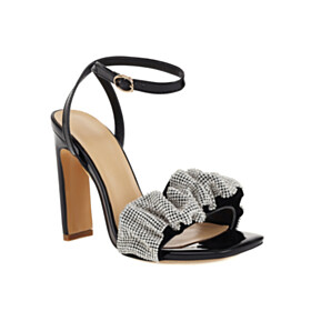 With Rhinestones Sandals For Women Ankle Strap Black Party Shoes Fashion Stiletto Heels Sparkly Peep Toe Patent Leather 4 inch High Heeled