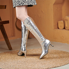Silver Fur Lined Sparkly Riding Boots Boot Comfort Stretch Stiletto 6 cm Heel
