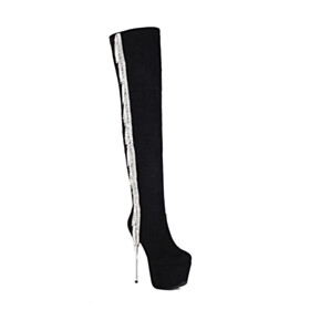Stiletto Fashion Platform Tassel Black Knee High Boots Tall Boot Suede Super High Heeled