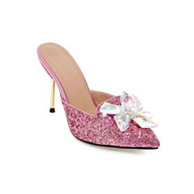 Slipper Fashion 4 inch High Heel Pink Sandals Sparkly Sequin