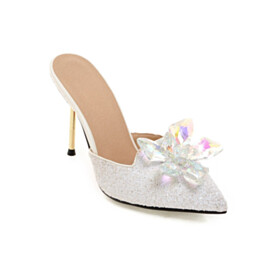 With Crystal Sequin Sparkly Stilettos Pointed Toe Evening Shoes White 10 cm High Heel Sandals