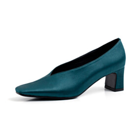 Dress Shoes 2 inch Low Heel Business Casual Shoes Womens Shoes Pumps Block Heels Satin