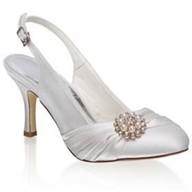 Almond Toe Pumps Elegant With Pearls 3 inch High Heel Ivory Bridal Shoes
