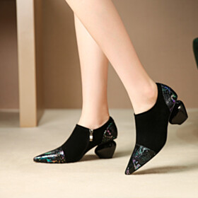 Leather Gradient Black Thick Heel Shooties Pointed Toe Comfortable Business Casual