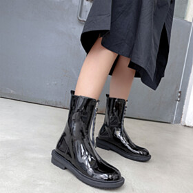 Ankle Boots Leather Black Closed Toe Flat Shoes