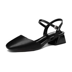 Women Shoes Black With Ankle Strap Block Heels Comfort 4 cm Low Heel Grained Chunky Hee