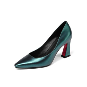 7 cm Mid Heel Slip On Fashion Elegant Red Soles Pointed Toe Pumps Dark Green Leather Business Casual