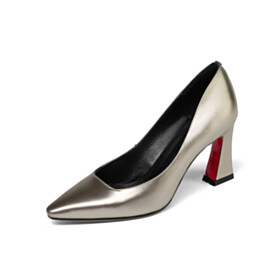 Thick Heel Red Bottoms Business Casual Elegant 7 cm Mid Heel Closed Toe Pumps Shoes