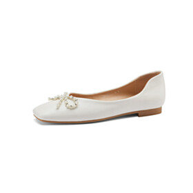 Leather Womens Shoes Business Casual Flats Comfort Loafers Ballet Fringe Bowknot White